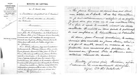 Nguyên bản chụp thư của Henri Delaborde đề nghi cho Lê Văn Miến tham gia thi giành Prix de Rome