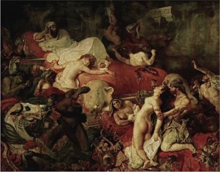 """Bức """"Cái chết của Sardanapalus"""" (La mort de Sardanapale) do Delacroix vẽ năm 1827 đã phải qua phục chế ngay trong khi tác giả của nó còn sống vì Delacroix dùng quá nhiều bitumen (đen nhựa đường). Bitumen rất lâu khô, khi khô gây co, nhăn nheo. Bitumen không phải là pigment mà là dye nên chui vào các màu xung quanh, làm tối sầm bức tranh. Sang t.k. XX bitumen được làm từ pigment nên bệnh bitumen mới được khắc phục."""