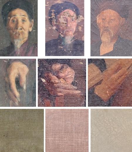 Hàng trên cùng và hàng giữa, từ trái: Trích đoạn các bức