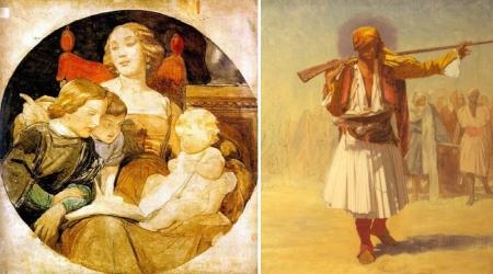 Vẽ lót đa sắc của Paul Delaroche (trái) và Jean-Léon Gérôme (phải)