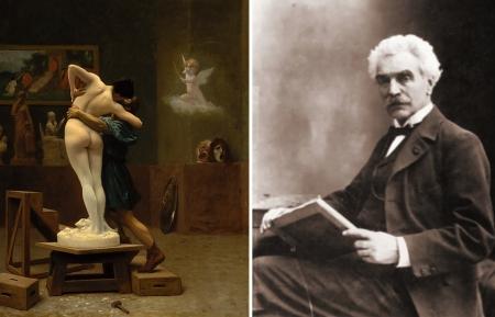 Trái: Jean-Léon Gérôme, Pygmalion và Galatea (1890) sơn dầu, 88.9 x 68.6 cm. Phải: Jean-Léon Gérôme (1824 – 1904)