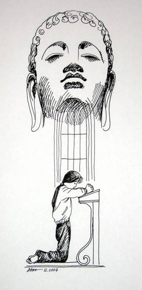 Nguyễn Đình Đăng Minh họa cho truyện ngắn Quan Âm chỉ lộ của Nguyễn Huy Thiệp (1990) bút sắt