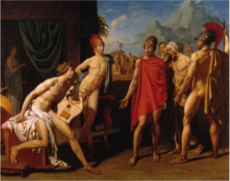 Jean-Auguste-Dominique Ingres, trò của Jacques-Louis David Achilles tiếp sứ thần của Agamemnon (Grand Prix de Rome, 1801)