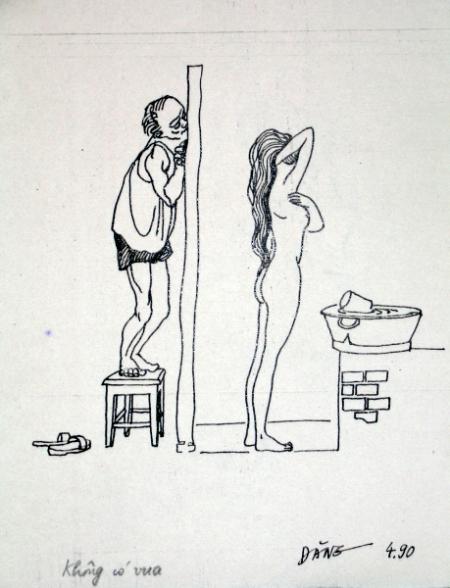 Nguyễn Đình Đăng Minh họa cho truyện ngắn Không có vua của Nguyễn Huy Thiệp (1990) bút sắt