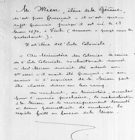 Nguyên bản chụp tờ khẳng định Lê Văn Miến không phảo là người Pháp mà chỉ là phụ thuộc Pháp.