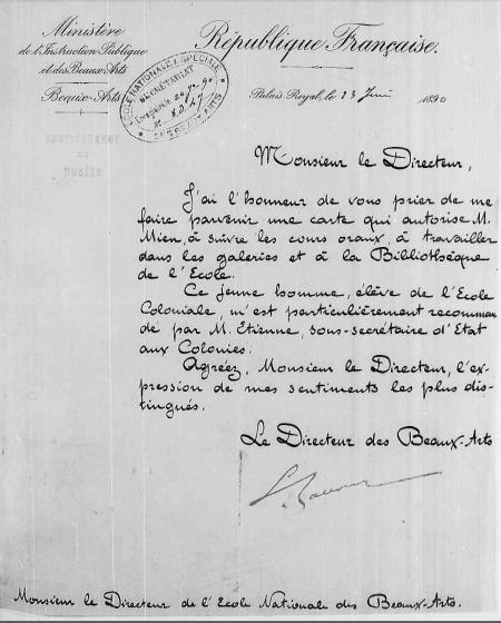 Nguyên bản chụp thư của Léon Bourgeois, giám đốc mỹ thuật Bộ Giáo dúc công và Mỹ thuật, gửi hiệu trưởng trường Mỹ thuật Paris