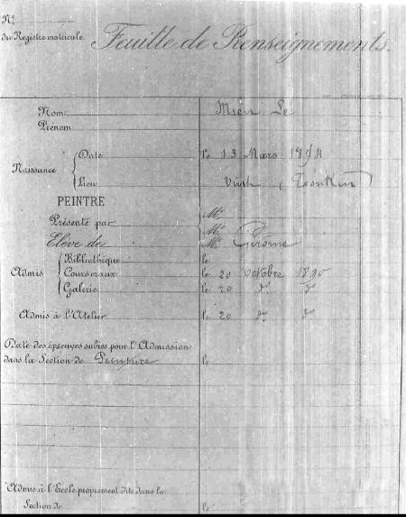 Nguyên bản chụp bản dữ kiện của Lê Văn Miến trong lưu trữ quốc gia và trường Mỹ thuật Paris