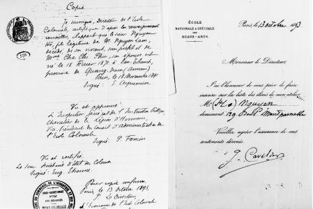 Trái: Bản sao xác nhận xuất xứ của Nguyễn Trang Thúc tại lưu trữ quốc gia và trường Mỹ thuật Paris. Phải: Bản dịch tiếng Việt