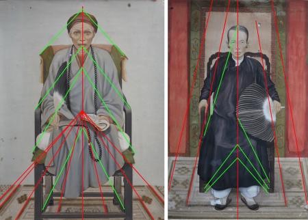 Luật viễn cận không nhất quán trong chân dung cụ ông và cụ bà Nguyễn Khoa Luận do Lê Văn Miến vẽ