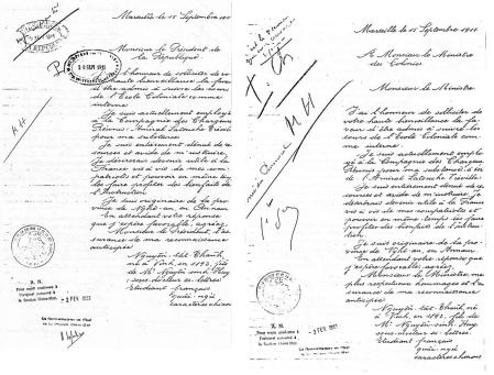 Thư Nguyễn Thất Thành gửi tổng tống Pháp (trái) và bộ trưởng Thuộc địa Pháp (trái) để xin vào học tại trường Thuộc địa