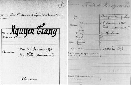 Bản chụp hồ sơ của Nguyễn Trang Thúc tại lưu trữ quốc gia và trường Mỹ thuật Paris