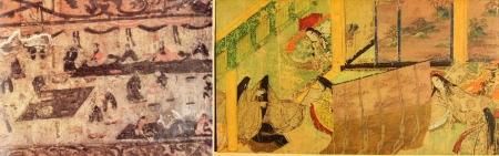 Viễn cận son song. Trá: Tiệc của hoàng đế Đời Đông Hán (25 – 220). Phải: Truyện Genji (Nhật Bản, t.k. XI)