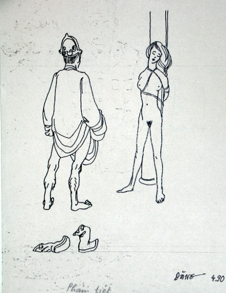 """Nguyễn Đình Đăng Minh họa cho truyện ngắn """"Phẩm tiết"""" của Nguyễn Huy Thiệp (1990) bút sắt"""