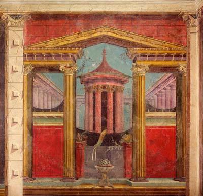 Viễn cận tuyến tính tương đối. Bích hoạ tại Pompeii (kh. t.k. I tr. CN) )