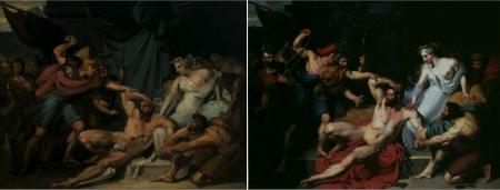 Joseph-Désiré Court, Samson và Delilah (1821) Trái: Bức phác thảo. Phải: Bức tranh cuối cùng.
