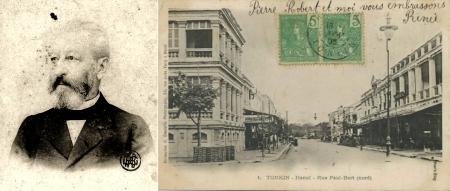 Trái: Schneider. Phải: Phố Paul-Bert (Tràng Tiền ngày nay) trước 1901 với NXB Schneider bên trái và khác sạn Hà Nội bên phải. Khi đó Nhà hát Lớn chưa được xây.