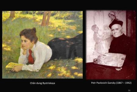 Trái: Piotr Gansky, Chân dung Bystriskay. Phải: Piotr Pavlovich Gansky (1846 - 1942)