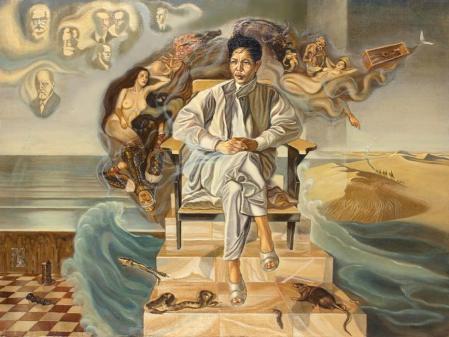 Nguyễn Đình Đăng Giấc mơ nghệ sĩ (Chân dungg nhà văn Nguyễn Huy Thiệp) (1990) sơn dầu trên canvas, 97 x 130 cm (sưu tập tư nhân)