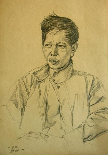 Nguyễn Đình Đăng Chân dung Nguyễn Huy Thiệp (1990) ký họa chì