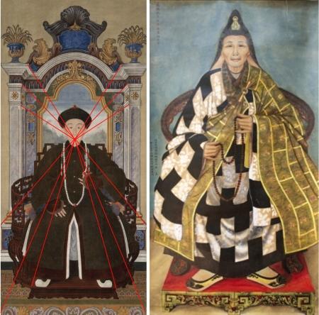 Trái: Chân dung Hoàng tử Quả Nghị, con thứ 17 của Khang Hi nhà Thanh (1697 – 1738). Phải: Nguyễn Văn Nhân, Chân dung Tổ sư Hải Toàn - Linh Cơ (1895)
