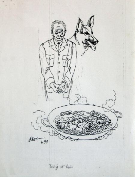 Nguyễn Đình Đăng Minh họa cho truyện ngắn Tướng về hưu của Nguyễn Huy Thiệp (1990) bút sắt