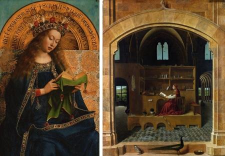 """Trái: Jan Van Eyck, Maria Đồng Trinh (Trích đoạn từ bộ tranh thờ """"Con chiên thần bí"""" (1432). Phải: Antonello da Messina, Thánh Jerome trong thư phòng (kh. 1474 – 1475), sơn dầu trên ván gỗ, 45.7 x 36.2 cm"""