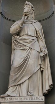 Tượng Petrarch tại mặt tiền điện Uffizi ở FlorenceTượng Petrarch tại mặt tiền điện Uffizi ở Florence