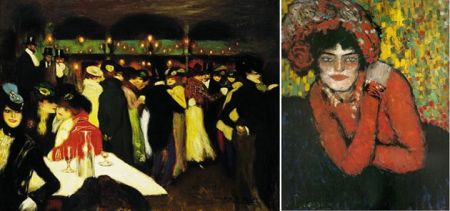 Pablo Picasso Trái: Le Moulin de la Galette (1900) bắt chước Toulouse-Lautrec.  Phải: Margot (1901) chịu ảnh hưởng của Van Gogh.