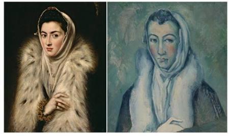 Trái: El Greco, Người đàn bà mặc áo cổ lông (1577 - 1579). Phải: Paul Cézanne, Người đàn bà mặc áo cổ lông vẽ theo El Greco (1885 - 1886)
