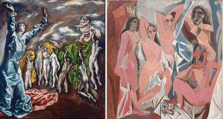 """Trái: El Grecco, Mở dấu niêm phong thứ năm (1608 - 1614). Phải: Pablo Picasso, Những cô nàng Avignon (1907). Khi Picasso vẽ bức tranh này ở Paris, ông thường tới thăm xưởng của hoạ sĩ Ignacio Zuloaga, người khi đó sở hữu bức hoạ """"Mở dấu niêm phong thứ năm"""" của El Greco, để nghiên cứu bức hoạ này. Picasso từng nói về bức hoạ """"Các cô nàng Avignon"""" của mình như sau: """"Chỉ có cách vẽ là đáng giá. Trên quan điểm đó, nói cho đúng thì chủ nghĩa Lập thể có nguồn gốc Tây Ban Nha và tôi đã phát minh ra chủ nghĩa Lập thể. Chúng ta phải tìm ảnh hưởng Tây Ban Nha trong tranh của Cézanne, ảnh hưởng của El Greco lên Cézanne. Nhưng cấu trúc của ông ta là lập thể."""""""