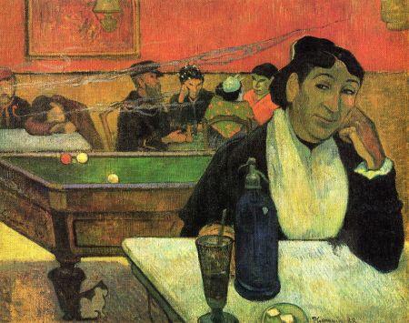 Paul Gauguin Quán cà-phê đêm (1888). Gauguin vẽ chân dung bà Marie Ginoux, vợ ông Joseph Michel Ginoux, chủ quán cà-phê.