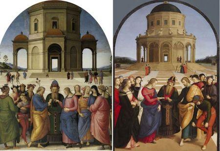Đám cưới của Đức Mẹ Đồng trinh Trái: Tranh của Perugino vẽ năm 1500 - 1504 (234 x 185 cm). Phải: Tranh của Raphael vẽ năm 1504 (174 x 121 cm)