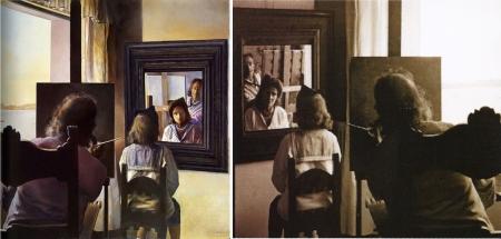"""Bức """"Dalí được nhìn từ phía sau đang vẽ Gala nhìn từ được phía sau được vĩnh hằng bằng sáu giác mạc giả tưởng phản chiếu tạm thời trong sáu tấm gương thực"""" (1972, trái) được Dalí vẽ từ tư liệu ảnh (phải) do Marc Lacroix chụp trước đó (cùng năm 1972)."""