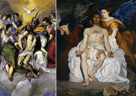 Trái: El Greco, Ba ngôi mội thể (1577 - 1579). Phải: Édouard Manet, Các thiên thần trong mộ Chúa (1864)