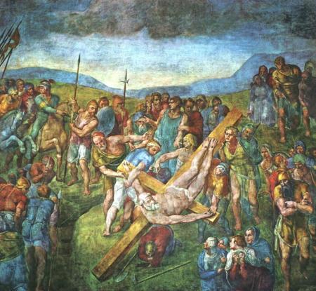 Michelangelo Tử đạo của thánh Peter (kh. 1546 - 1550)