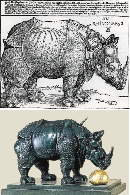 Trên: Albrecht Dürer, Con tê giác (1515), khắc gỗ. Dưới: Salvador Dalí, Con tê giác khoác đăng-ten (1956), tượng đồng. Có thể thấy Dalí đã sao chép nguyên xi con tê giác của Dürer.