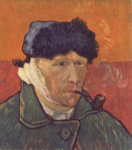 Vincent Van Gogh Tự hoạ (1889) Chân dung tự hoạ vẽ từ hình phản chiếu trong gương sau khi tai trái đã bị cắt.