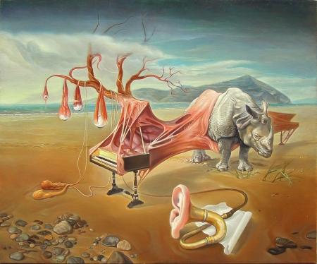 Nguyễn Đình Đăng Piarinoforceronte /Dương tê cầm giác (2015) oil on canvas, 60.6 x 72.7 cm