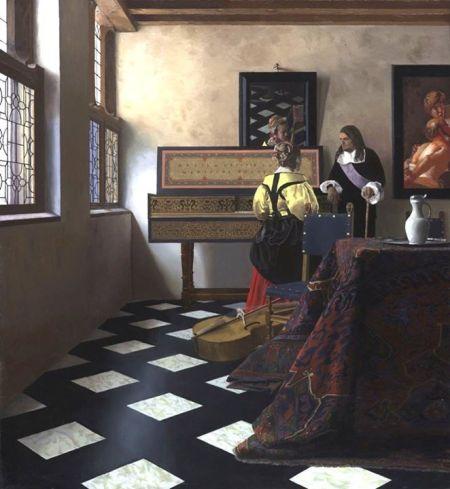 """Tim Jenison  Mô phỏng """"Buổi học nhạc"""" của Johannes Vermeer"""