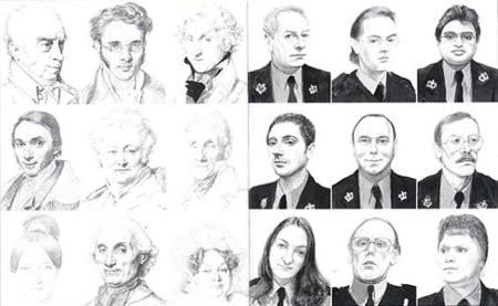 David Hockey tự so sánh dessin do ông vẽ dùng camera lucida (phải) với các dessins của Ingres (trái)