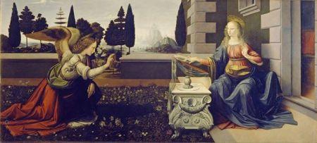 Leonardo da Vinci Lời truyền tin (kh. 1472 - 1476) sơn dầu và tempera trên ván gỗ, 100 x 221.5 cm Galleria degli Uffizi, Florence