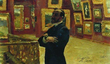 Ilya Repin N.A. Mudrogel tạo dáng Pavel Tretyakov trong phòng tranh của bảo tàng Tretyakov (1904) sơn dầu trên gỗ, 12 x 31 cm