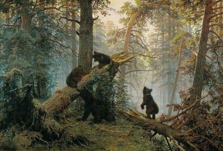 Ivan Shishkin và Konstantin Savitsky Buổi sáng trong rừng thông (1886)