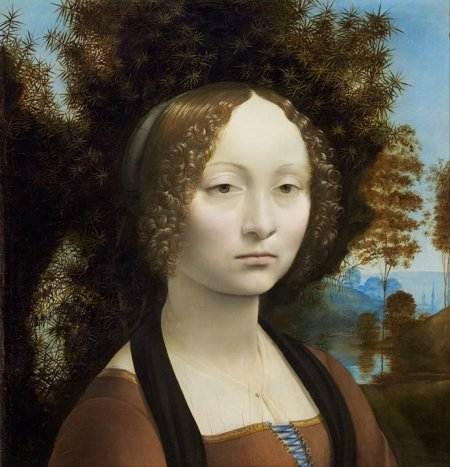 Leonardo da Vinci Chân dung Ginevra de' Benci (kh. 1474 - 1478) sơn dầu trên ván gỗ, 38.1 x 37 cm National Gallery of Art, Washington D.C.