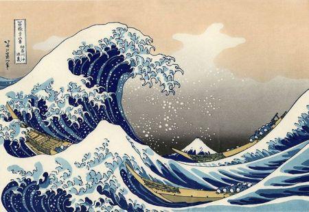 Katsushika Hokusai (1760 - 1849) Sóng lớn tại Kanagawa (tranh ukiyo-e)