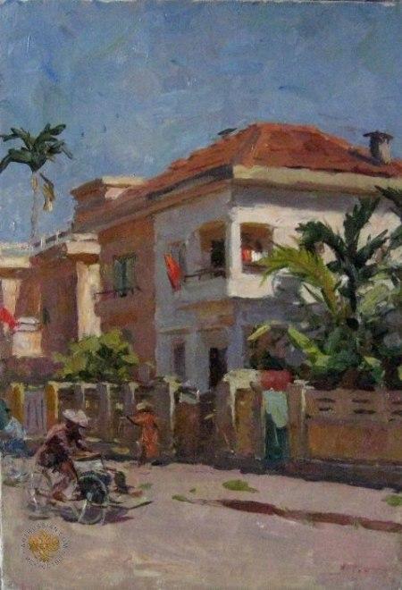 Phố Hà Nội (1960) sơn dầu trên canvas, 62 x 43 cm