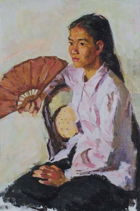 Cô gái cầm quạt (1961) sơn dầu trên canvas, 66.5 x 44.5 cm