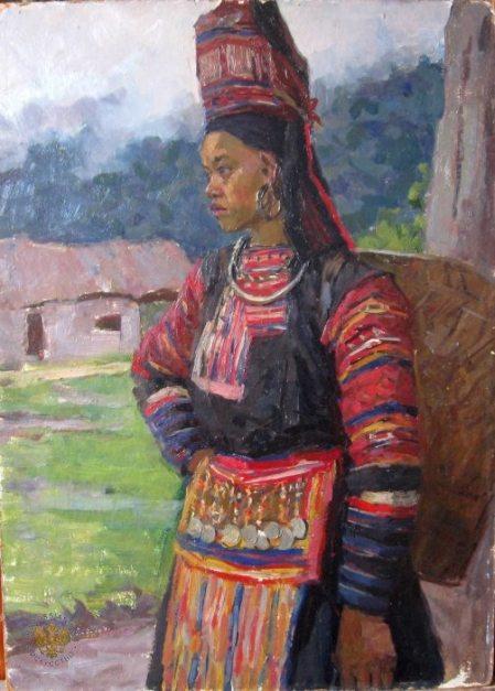 Cô gái dân tộc Mèo (1960) sơn dầu trên canvas, 70 x 50 cm