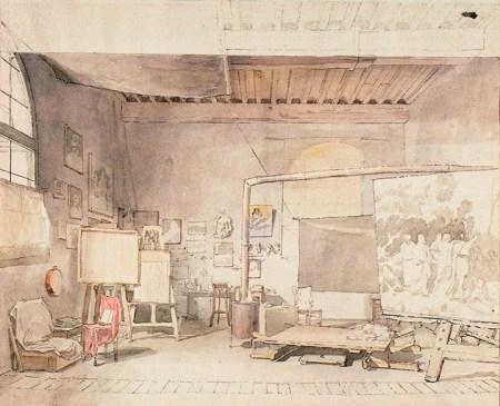 Alexander Ivanov Xưởng hoạ của Alexander Ivanov tại Rome (kh. những năm 1830) mực Tàu, màu nước, bút lông, bút sắt trên giấy, 24.6 x 35 cm (Có thể thấy một phác thảo cho bức