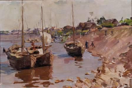 Thuyền buồm trên sông Hồng (1960) sơn dầu trên bìa carton, 34 x 48 cm